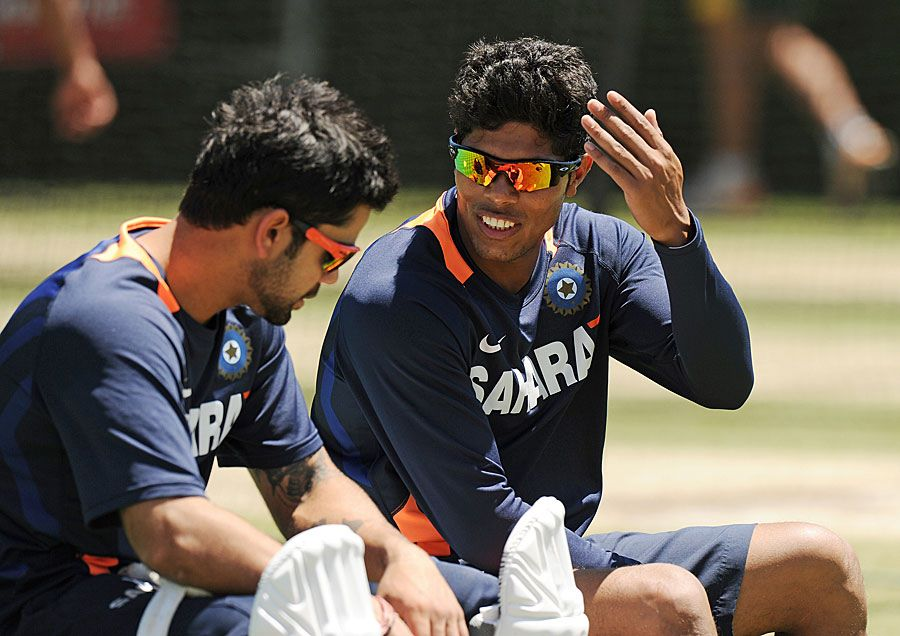 Umesh Yadav with Virat Kohli during the practice session ahead of the nd Test Match. - Team Umesh