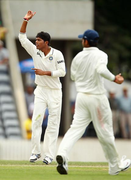 Umesh Yadav bowls during the practice game today. - Team Umesh