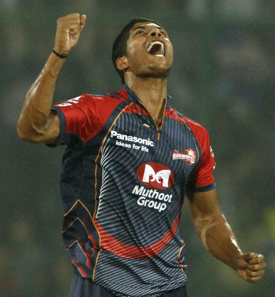 Umesh Yadav is overjoyed after taking two wickets in two balls against KKR yesterday. -Admin
