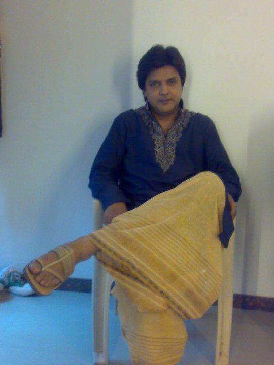 In Purple Kurta And In Dhoti