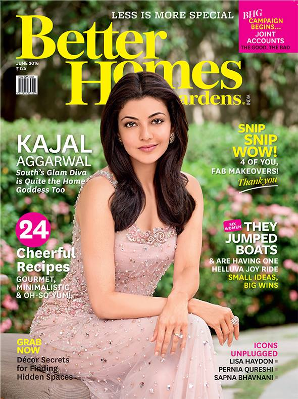 Kajal Agarwal On The Cover Of Better Homes and Gardens India Magazine June 2016