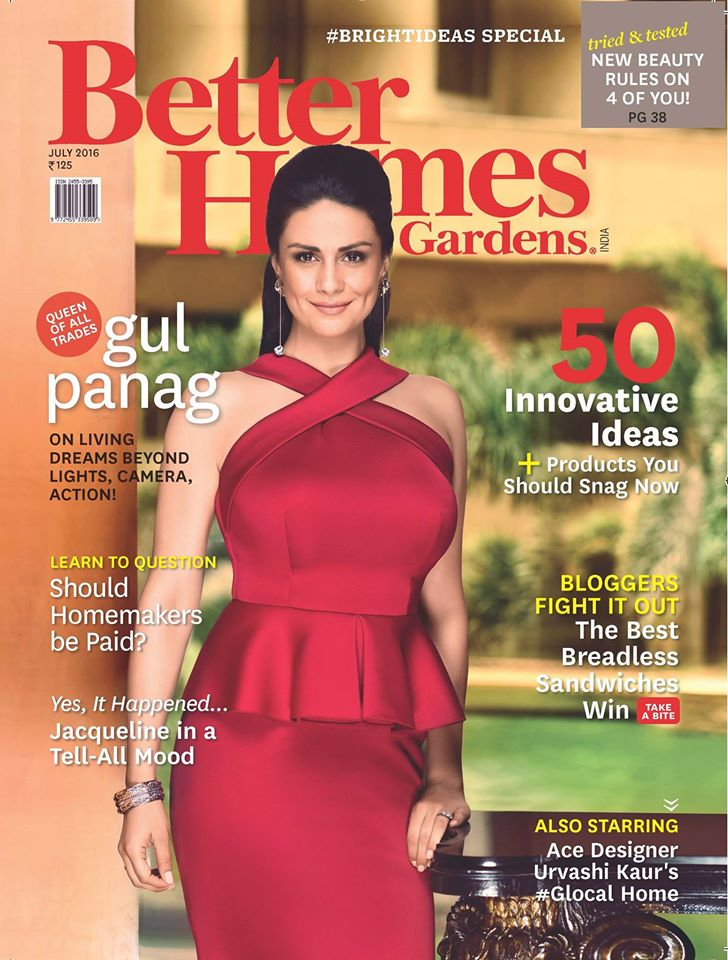 Gul Panag On The Cover Of Better Homes and Gardens India Magazine July 2016