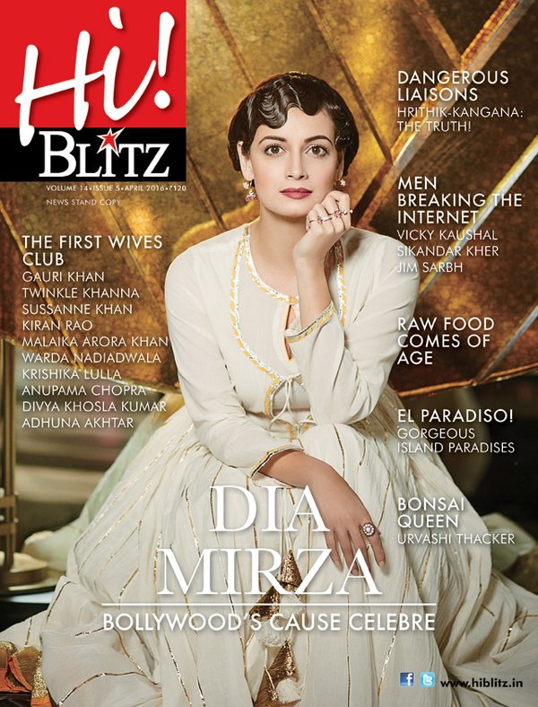 Dia Mirza On The Cover Of Hi Blitz Magazine India April 2016