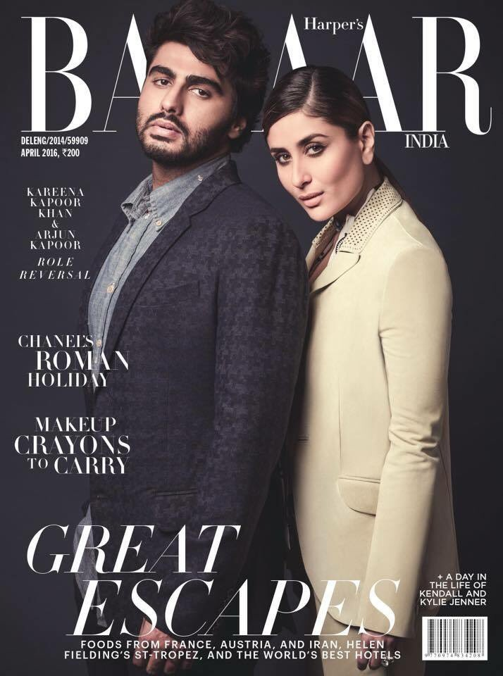 Kareena & Arjun On The Cover Of Harpers Bazaar Magazine India April 2016
