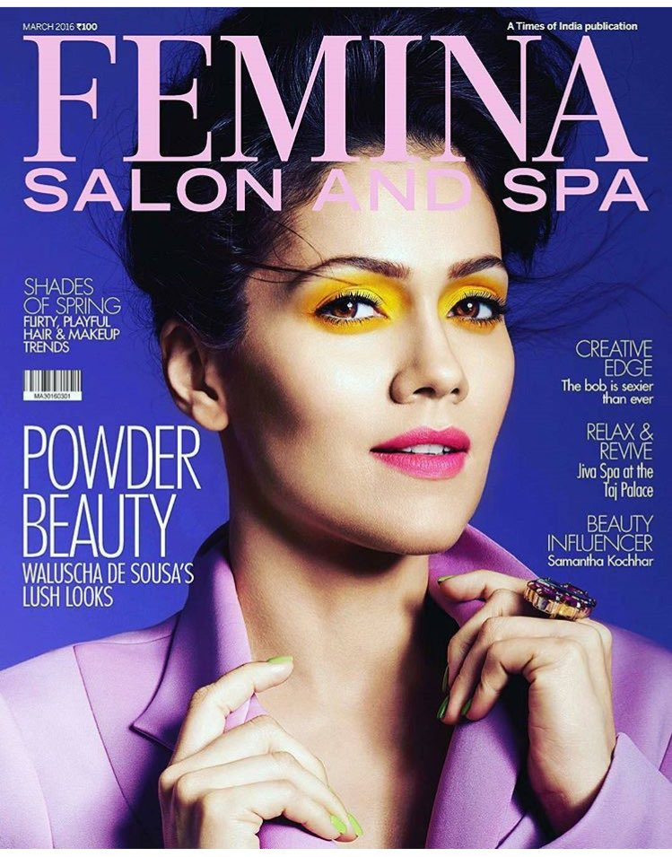 Waluscha on the cover of Femina Salon & Spa Magazine India April 2016