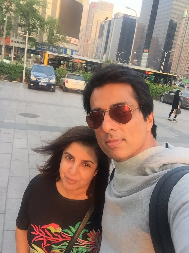 Selfie TIme! Sonu Sood Selfie with Farah Khan on the sets of Kung Fu Yogain China