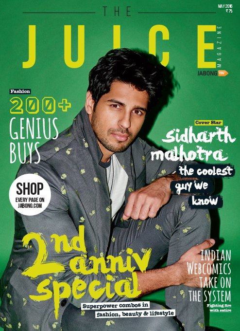 Siddharth Malhotra On The Cover Of Juice Magazine India May 2016