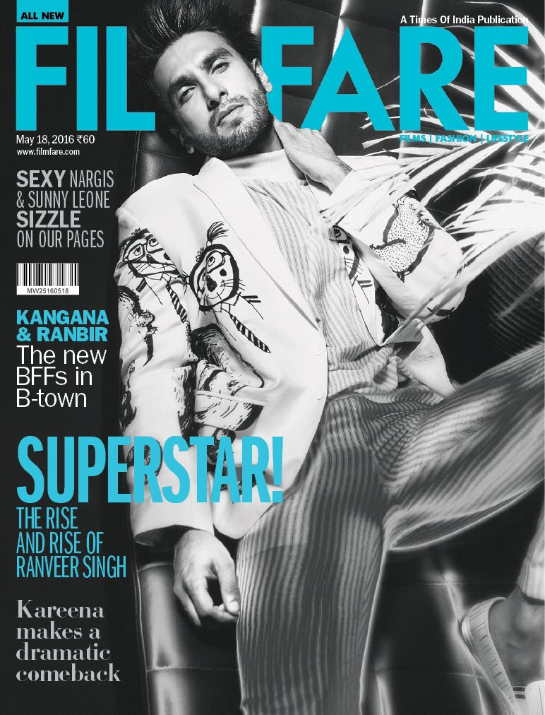 Ranveer Singh On The Cover Of Filmfare Magazine India May 2016