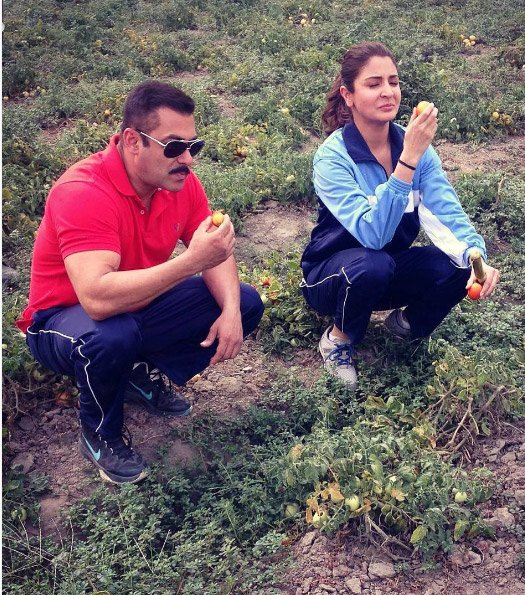 Salman Khan and Anushka Sharma New Still On The Sets Of Sultan Movie