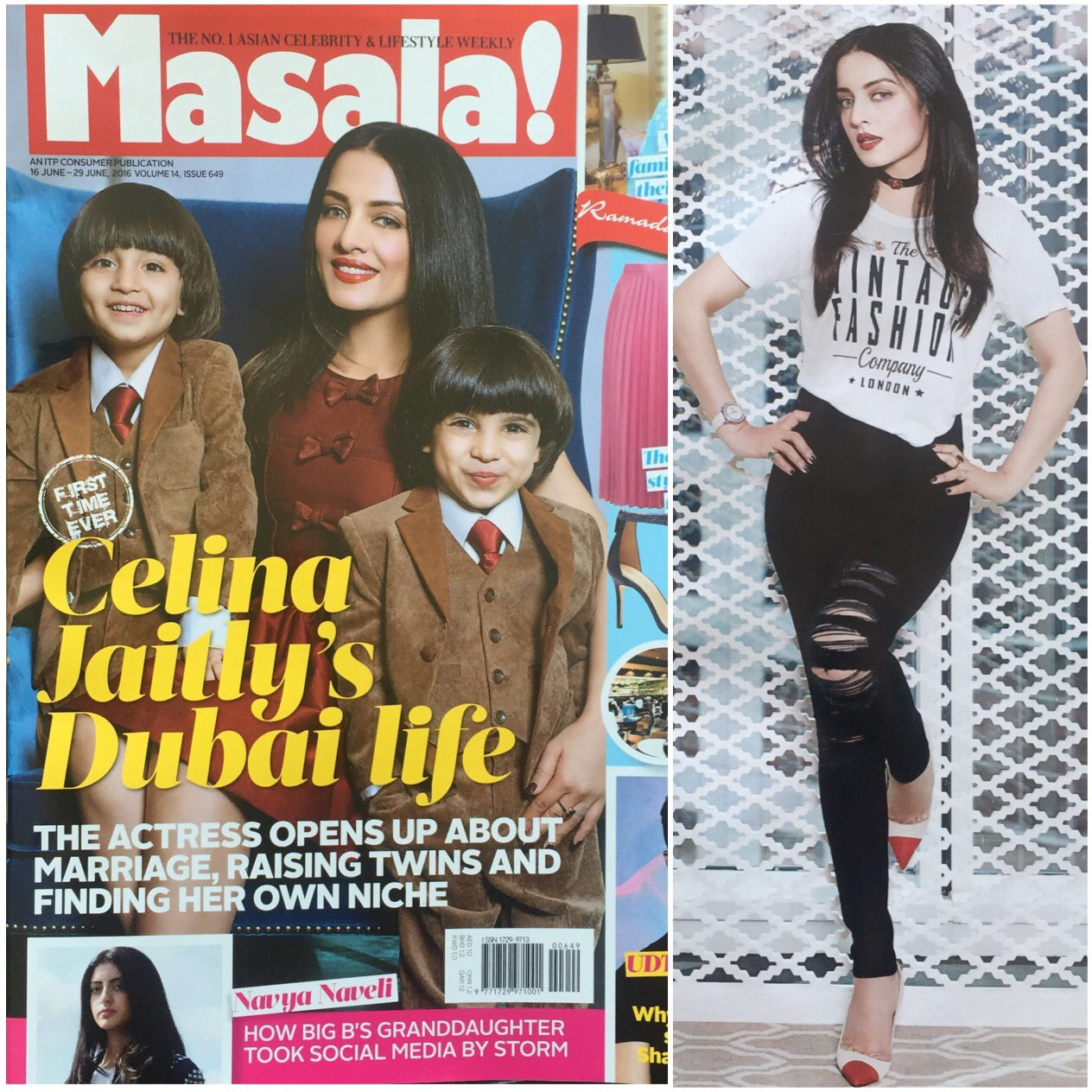 Celina Jaitly With Her Twins on the Cover of Masala Magazine India June 2016