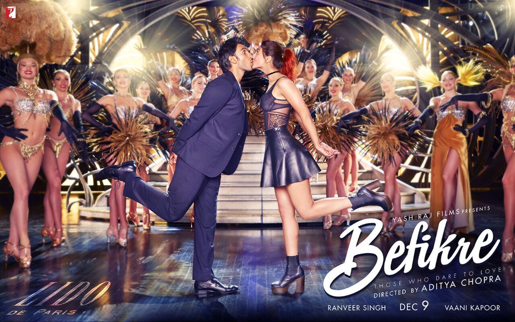 Ranveer Singh and Vaani Kapoor's Romantic Kiss on Befikre Movie Poster