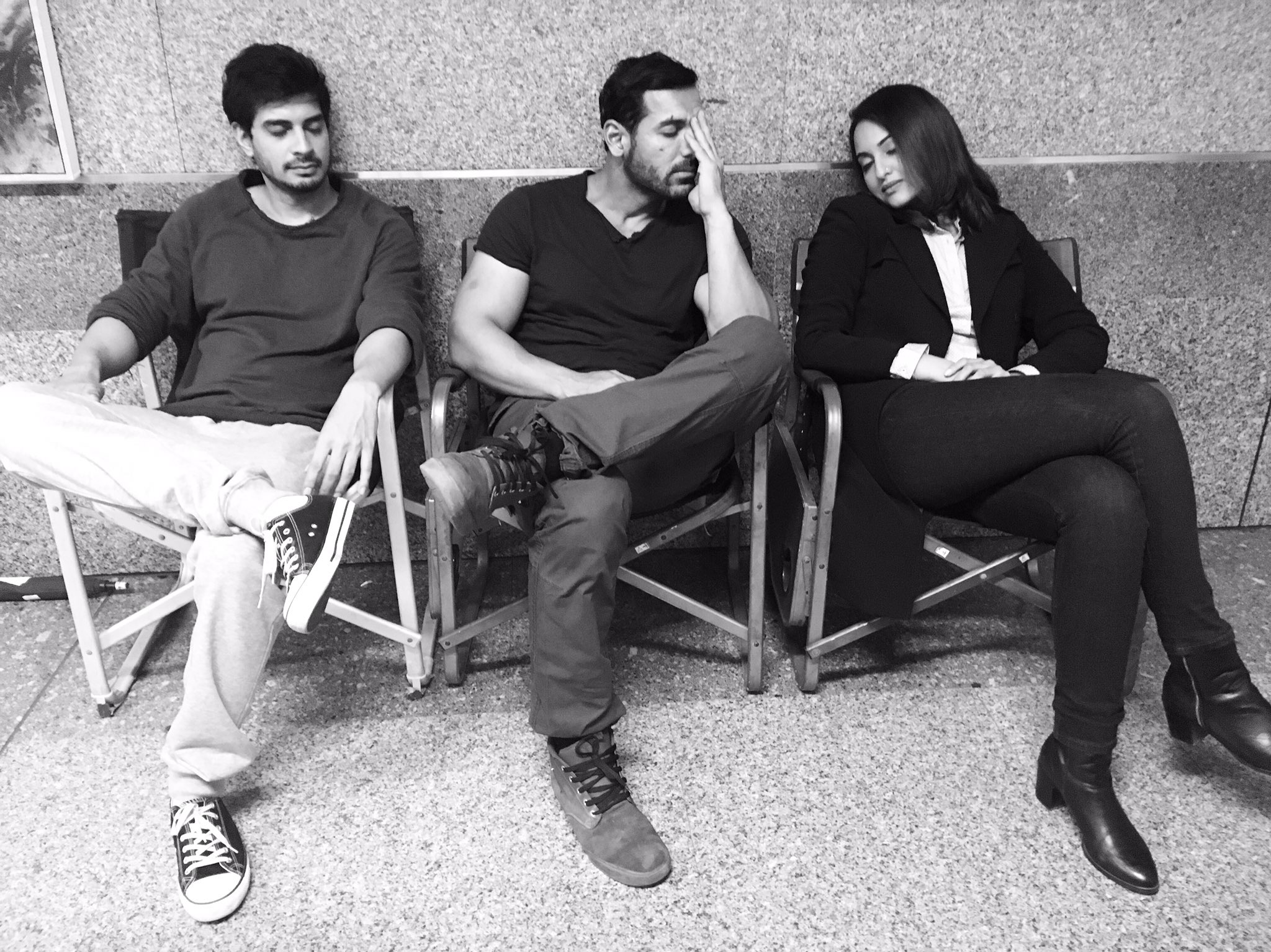 John, Sonakshi and Tahir resting, relax sleep on the sets of Force 2
