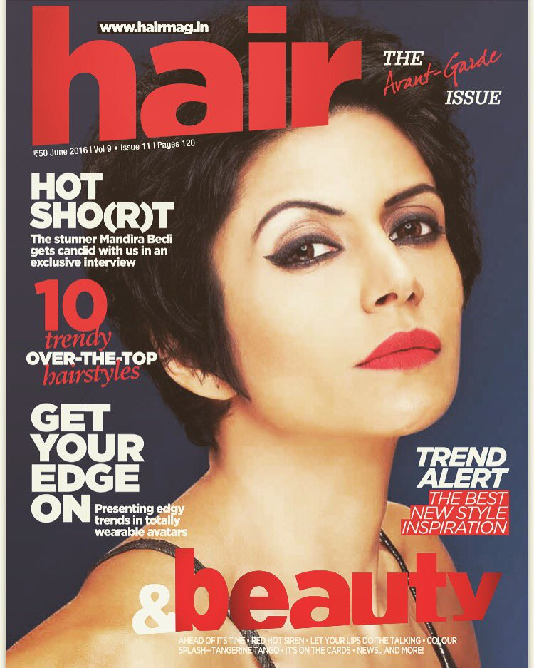 Mandira Bedi On The Cover Of Hair Magazine India June 2016