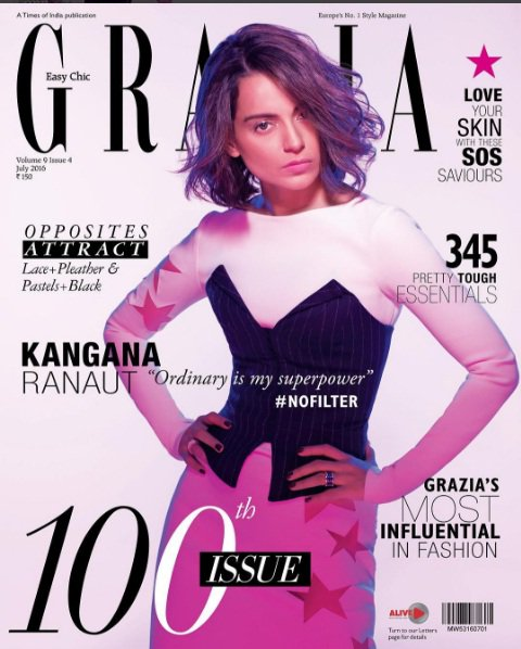Kangana Ranaut On The Cover Of Grazia Magazine India July 2016