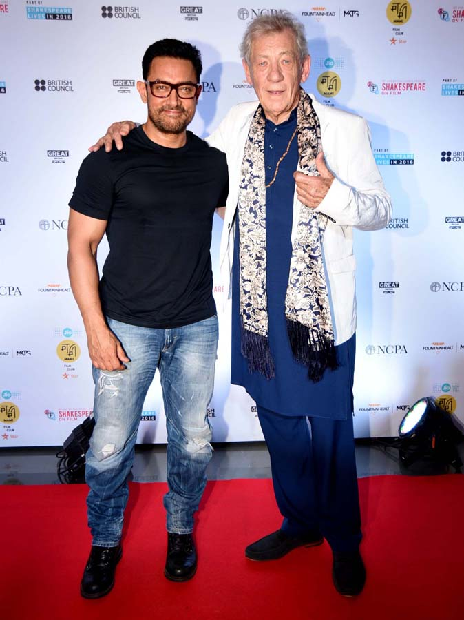 Aamir Khan and Sir Ian McKellen during the conversation organised by MAMI Film Club