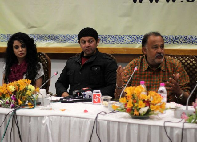 Alok Nath and Saraa Khan addressing a press confrence in Srinagar