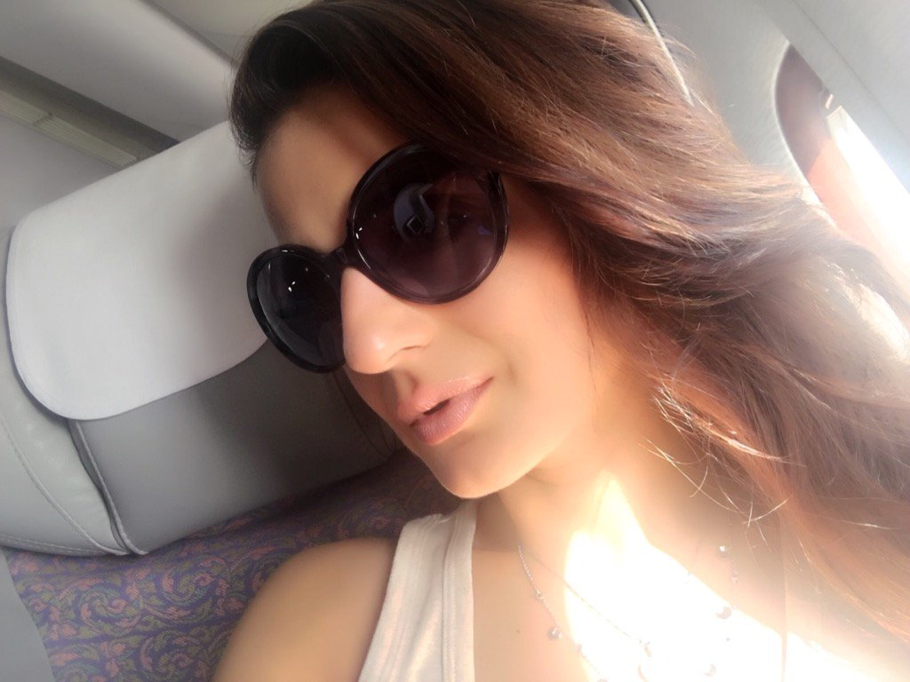 Ameesha Patel's Selfie Time in Flight