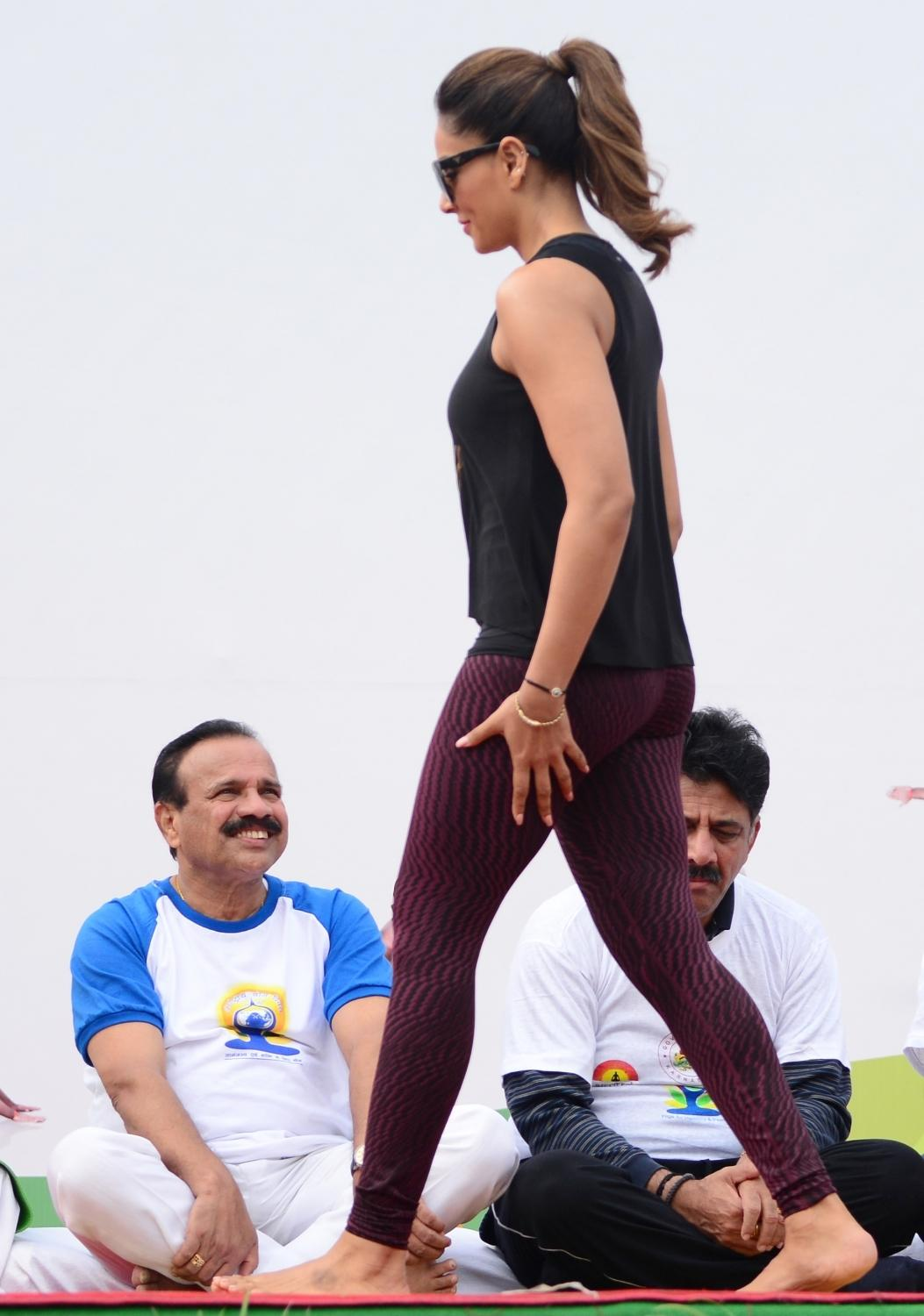 Bipasha Basu Celebrated Yoga Day with Siddaramaiah