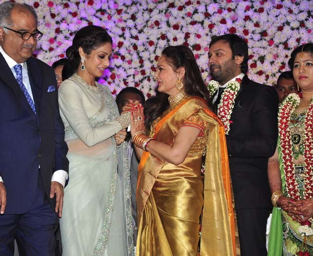 Bony Kapoor & Sridevi at Jayapradas Son Siddharth with Pravallika Reddy Wedding Reception