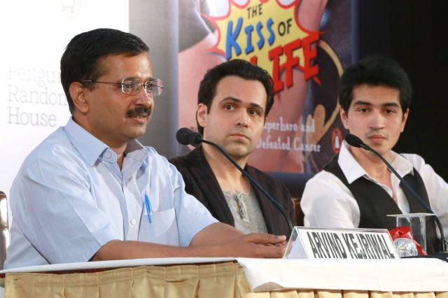 Delhi CM Arvind Kejriwal & Actor Emraan Hashmi at the launch of a book The Kiss of Life