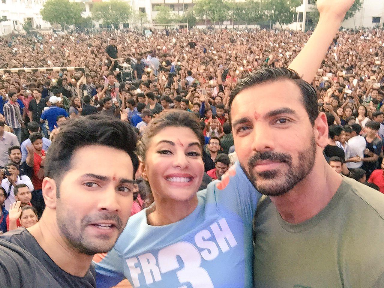 Varun, John & Jacqueline selfie with Fans