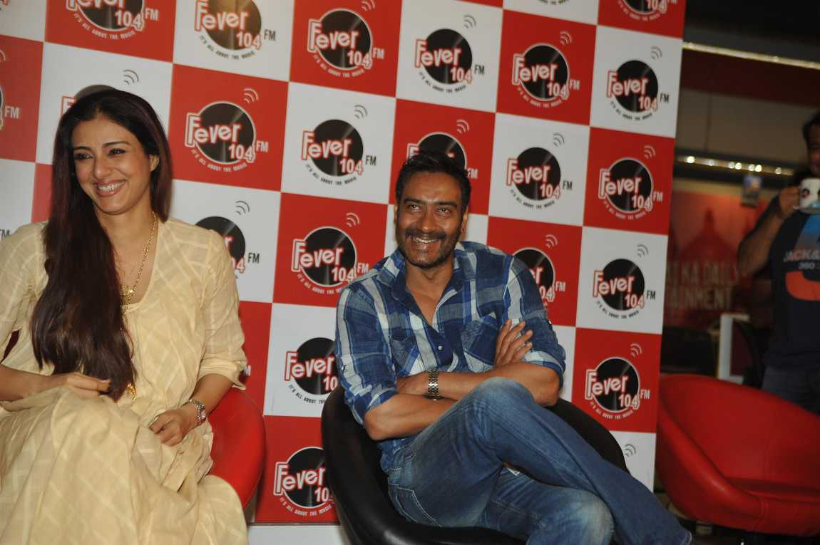 Drishyam : Ajay & Tabu at Fever 104 FM Studios in Mumbai