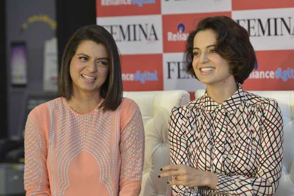 Kangna Ranaut with Sister Rangoli Launch Femina Magazine Cover March