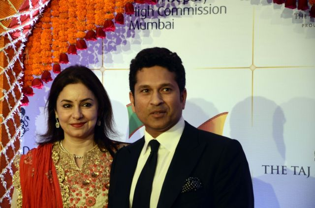 Sachin Tendulkar and his wife Anjali attend a royal Bollywood charity reception in Mumbai