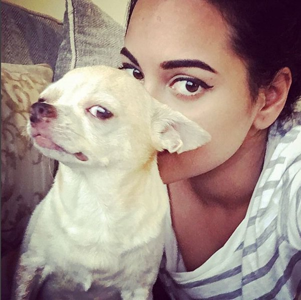 Sonakshi Sinha with her pet Dog