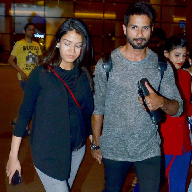 Shahid Kapoor Spotted with wife Mira Rajput at Mumbai Airport