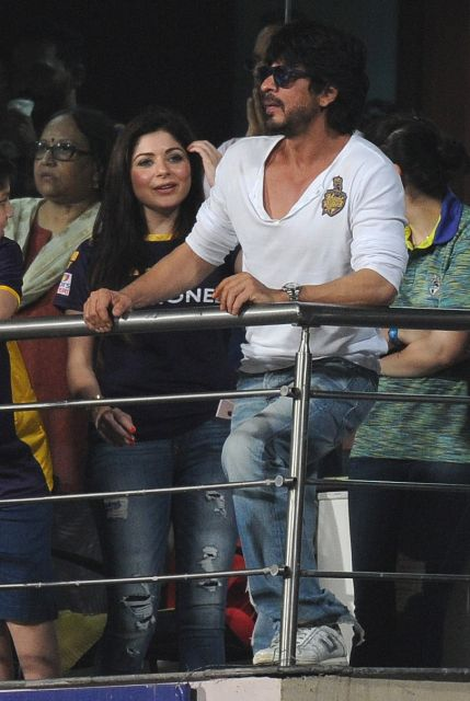 Shahrukh Khan with his son AbRam at Eden Gardens during an IPL match between Kolkata Knight Riders and Royal Challengers Bangalore