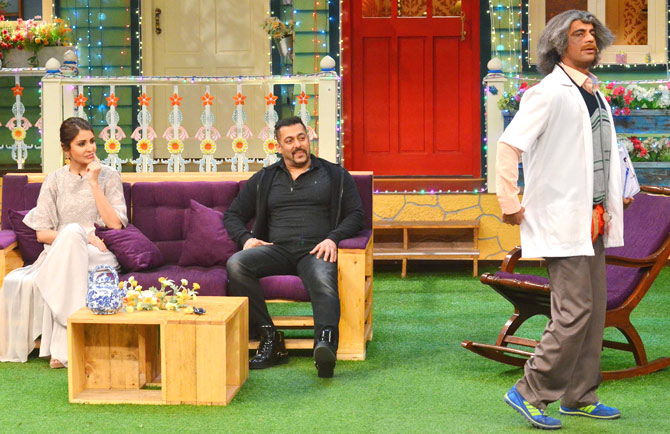 Sultan! Salman Khan and Anushka Sharma on the sets of The Kapil Sharma Show