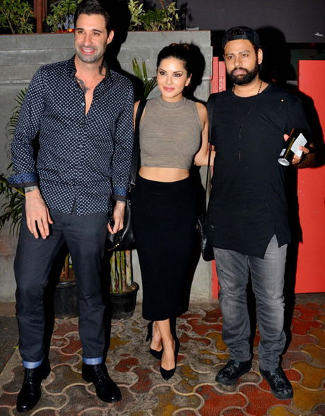 Sunny Leone Dinner with Daniel Weber & VJ Andy at Fatty Bao Restaurant