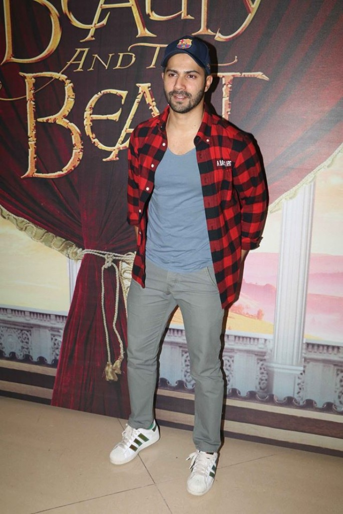 Varun Dhawan and Boman at Beauty and Beast screening
