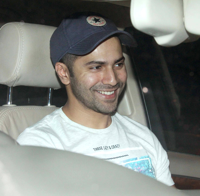 Varun Dhawan spotted at a theatre in the western suburbs of Juhu in Mumbai