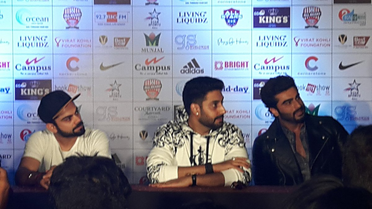 Virat, Abhishek and Arjun at the Jersey launch of Celebrity Clasico 2016